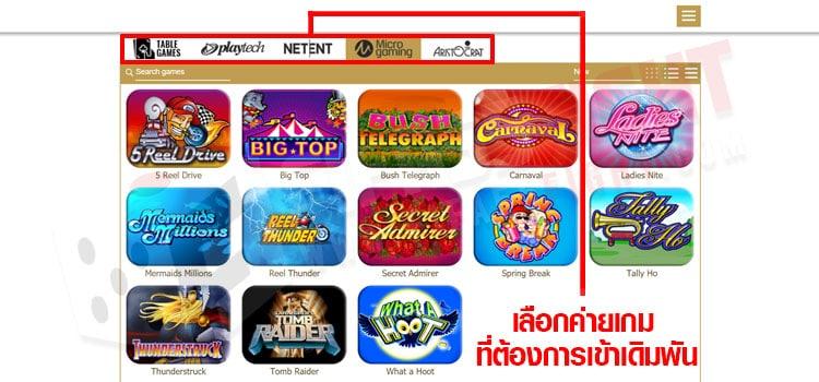 เลือกค่ายเงินที่ต้องการเดิมพัน Slot Game
